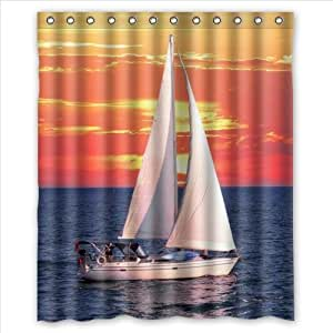 Beautiful Scenery:Sailing Boat In The Sunset,Sailing Boat Custom 100% Polyester Waterproof Shower Curtain 60 x 72