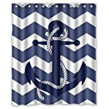 MyLinen Bestselling Window Curtain Chevron Anchor Pattern Print With Navy Blue Chevron Zig Zag By JackieTD (1 Panel 52″x63″) For Sale