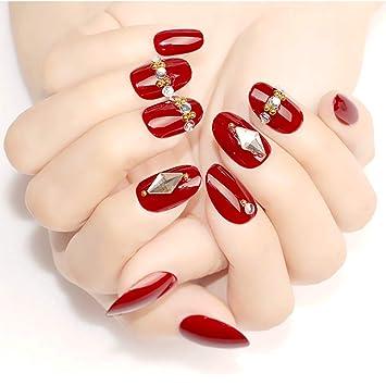 24 piezas Uñas postizas Corto Rhinestone de color rojo oscuro ...