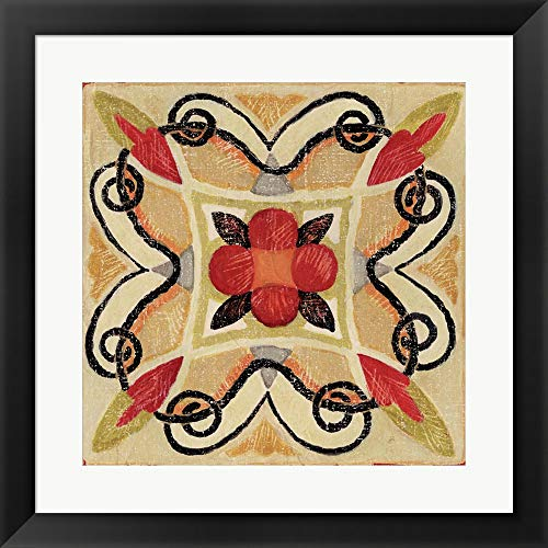 Bohemian Rooster Tile Square I by Daphne Brissonnet Fine Art Print with Wood Box Frame and Glass Cover, 20 x 20 inches