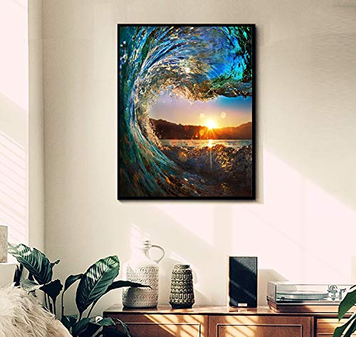 CANDYL Paint by Number Wave DIY Oil Painting Paint by Number Kit for Kids Adults Beginner Canvas Painting by Numbers Acrylic Oil Painting Arts Craft for Home Wall Decoration Sunset Seascape 16x20 Inch