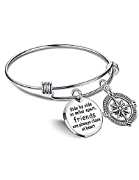 Best Friend Bracelet Friends are Always Close at Heart BFF Bangle Compass Long Distance Friendship Gifts