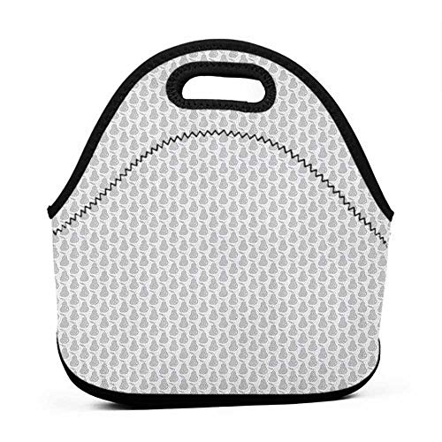 Tote Waterproof Outdoor Grey and White,Greyscale Pear Silhouettes with Dots Design Fresh Winter Season Fruits, Pale Grey White,lunch bag meal prep for women