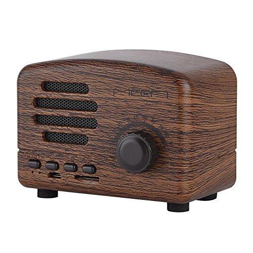 Vintage Altavoces Bluetooth Altavoz Portátil Radio FM Estéreo Bajo USB Soporte TF Tarjeta (Madera de Rosa)
