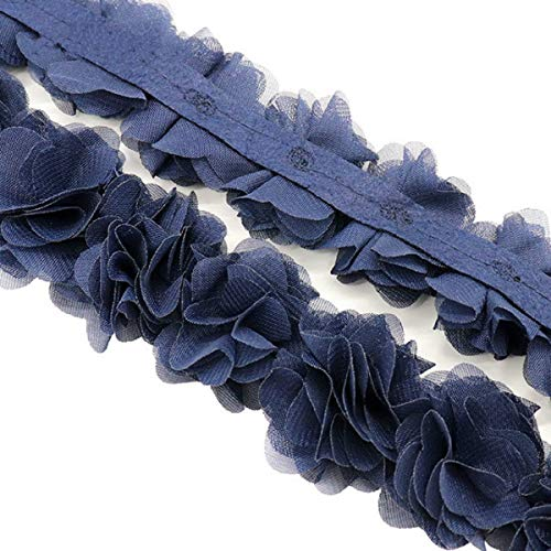 Yalulu 5 Yards Flower 3D Chiffon Lace Trim Ribbon Fabric Applique Trimming Craft Sewing Wedding Dress Decoration Accessories (Black) ()