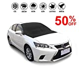 Car Windshield Cover-Sun Shade Rain Guard Protector with Magnetic Edges-Snow Ice Frost Resistant-Door Flaps Waterproof Windproof Dustproof-Outdoor Automotive Hood Covers Fit Cars