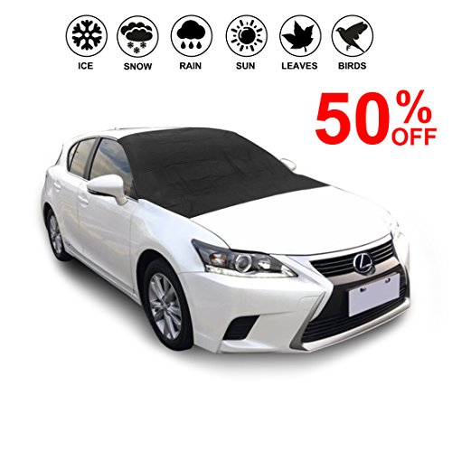 Car Windshield Cover-Sun Shade Rain Guard Protector with Magnetic Edges-Snow Ice Frost Resistant-Door Flaps Waterproof Windproof Dustproof-Outdoor Automotive Hood Covers Fit Cars - Edge Snow Flaps