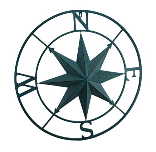 Zeckos Metal Compass Rose Distressed Finish Wall Hanging Metal Wall Sculptures Blue