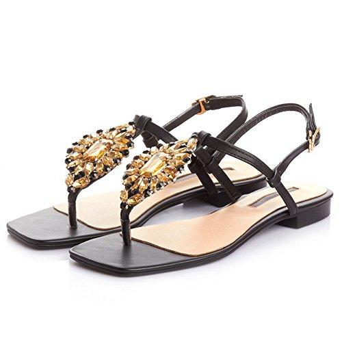 ... Allhqfashion Kvinners Firkantet Åpen Tå Ku Skinn Solide Sandaler Med  Glass Diamant Svart