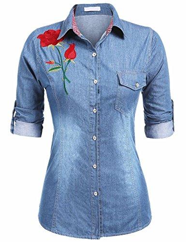 Teewanna Women's Button Down Long Sleeve Classic Denim Shirt Tops With Flower Prints & Pocket Light Blue (Ladies Long Sleeve Denim Shirt)