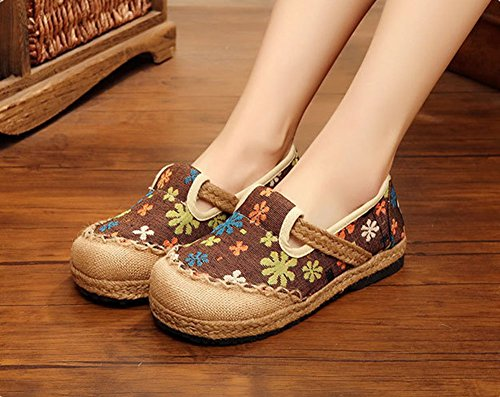 Con Jane Redonda Caf Planos Vintage Punta 50's Estilo Zapatos Mujer Missmaom Mary Patrn De Flores xFYwqPaZ