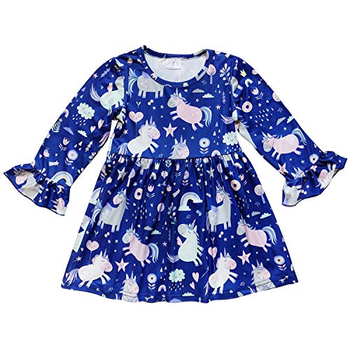 So Sydney Little Girls Long Sleeve Fall Winter Flare Stretch Cotton Holiday Princess Dress (L (5), Unicorn Dreams Blue) ()