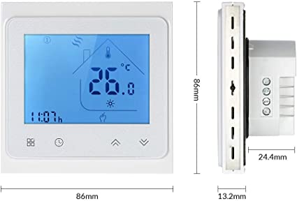 Decdeal Thermostat LCD Digital Raumthermostat Touchscreen APP Control 5A Warmwasserbereitung 0.5 /° C Genauigkeit 6 Programmierbare Perioden Temperatur Luftfeuchtigkeit PM2.5 Display Smart Home