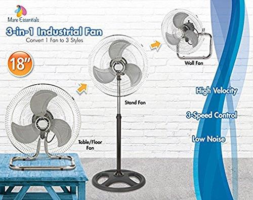 Best Buy! MareLight 3 in 1 Premium Large High Velocity Industrial Black Floor Fan/Table Fan - 18 Fl...