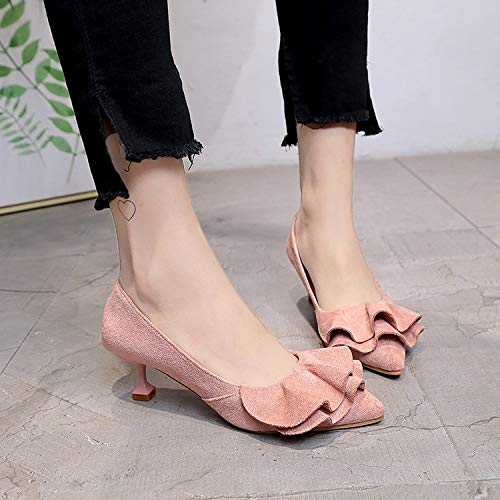 High Singole Basso Pink With Tacco Da Sweet E Heels Tacchi Sposa Spring Small Con Shoes Alti Moda Work 3cm Pointed Autumn Cat Yukun Scarpe 0R6vg