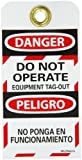 NMC SPLOTAG14 DANGER - DO NOT OPERATE EQUIPMENT TAG-OUT Bilingual Lockout Tag, Unrippable Vinyl, 3'' Length, 6'' Height, Black/Red on White (Pack of 10)