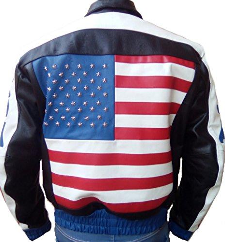Mens USA Flag Biker Fashion Real Leather Jacket