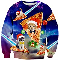 RAISEVERN Unisex Funny Print Ugly Christmas Sweater Crewneck Various Design