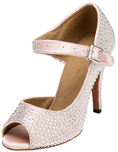 Latin YYC Professional L126 Heel Ballroom Satin CFP Shoes Sexy Dance Tango Stiletto Womens Pink qUpddZI