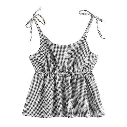 Women's Casual O Neck Lattice Back Crop Cami Tops Camisole Shirt Vest Blouse