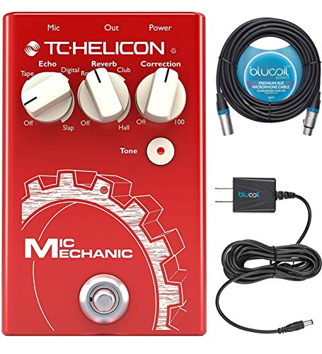 (TC Helicon Mic Mechanic 2 Vocal Effects Pedal Bundle with Blucoil Slim 9V 670ma Power Supply AC Adapter, and 20-FT Balanced XLR)