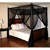 Canopy Bed Set Black Four 4 Post Netting Curtains Sheer Panels Net Any Size  NWT
