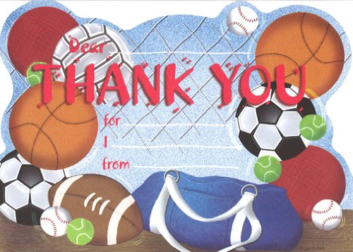 Boys Sportsbag Thank You Cards, Fill-In Style, 8 -