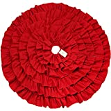 D-FantiX Red Sackcloth Christmas Tree Skirt, Elegant Ruffle of Lace Linen Tree Skirt Christmas Decorations 48 (Red)