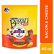 Purina Beggin' Strips Made in USA Facilities Dog Training Treats, Bacon & Cheese Flavors - 40 oz. Pouch