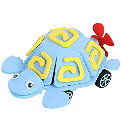 TOYANDONA Kids Robot Turtles Toys DIY Cartoon Tortoise Toy Model Science Learning Education Toys for Children Kids Without Battery (Sky-Blue): Arts, Crafts & Sewing