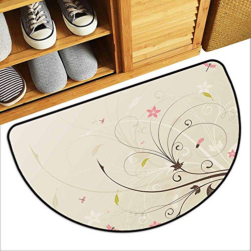 YOFUHOME Dragonfly Waterproof Door mat Spring Field Bouquet Shabby Chic Abstract Blossom Greenland Graphic Art Personality W23 x L15 Tan Brown Light Pink