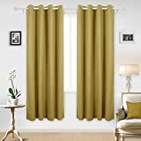thermal curtains 84 pattern - Deconovo Marble Pattern Grommet Panel Curtains Thermal Insulated Panel Texture Embossed Blackout Curtains for Kitchen Windows 52x84 Inch Yellow Two Panels