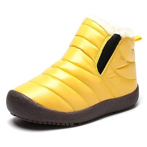 Botas Niño Invierno Forrado Calentar Botas de Nieve para Niños Botines Niña Planos Zapatos Al Aire Libre Impermeable Negro Morado Amarillo 26-37: Amazon.es: ...