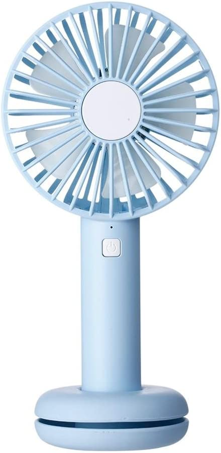 Blue WinnerEco Handheld Fan 3 Modes Speed USB Cooling Fan with Cable Storage Base LED Light