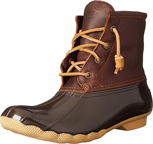 Brown Rain Boots Rubber (Sperry Top-Sider Women's Saltwater Rain Boot, Tan/Dark Brown, 8.5 M US)