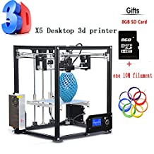 2017 New Upgraded Auto Leveing High precision Aluminium Cube 3D Printer Full Metal Extrusion Self-Assembly LCD Desktop Imprimante 3d DIY Kit with LCD Screen Support Big printing Size 210*210*280mm,One Free 8GB SD Card & A 10M Filament