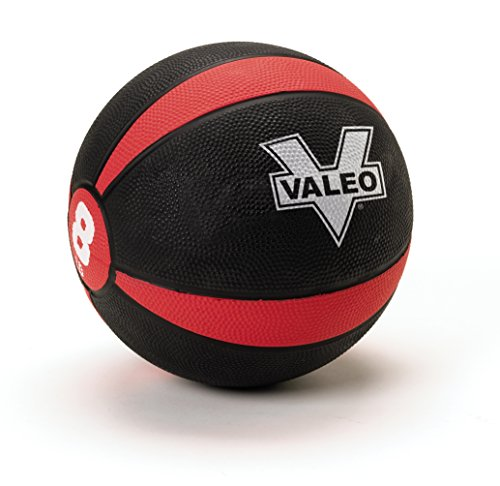 Valeo 8-Pound Medicine Ball With Sturdy Rubber Construction And Textured Finish, Weight Ball Includes Exercise Wall Chart For Strength Training, Plyometric Training, Balance Training And Muscle Build