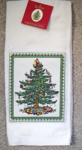 Spode Christmas Tree Appliqued Kitchen Towel, White Background - Spode Christmas Tree Fabric