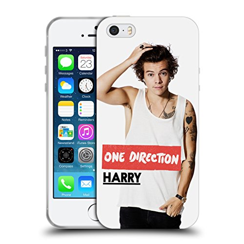 Ufficiale One Direction Canottiera Bianca Foto Harry Styles Cover Morbida In Gel Per Apple iPhone 5 / 5s / SE