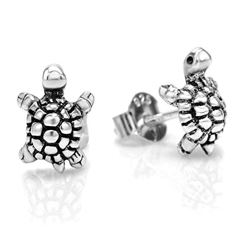 d67de29b1 Amazon.com: 925 Oxidized Sterling Silver Little Sea Turtle 10 mm Post Stud  Earrings: Jewelry