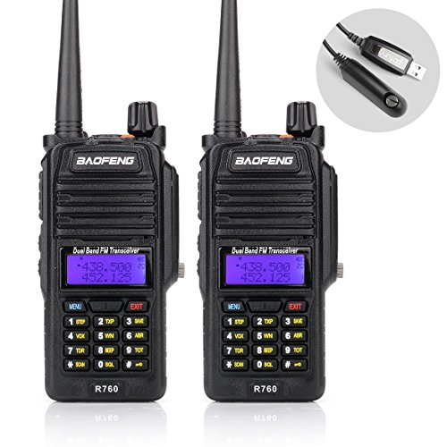 Baofeng 2PCS R760 Waterproof IP57 136-174/ 400-520MHZ Dual Band Ham Two-way radio Walkie Talkie Transceiver with Programming Cable