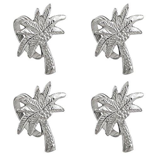 Shaped Palm Tree Napkin Rings Set of 4 Silver Tone Metal