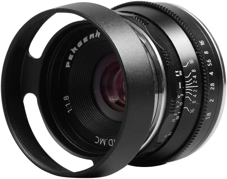 Pergear 25mm F1.8 Manual Focus Prime Fixed Lens with Lens Hood for Olympus and Panasonic Micro Four Thirds MFT M4//3 Cameras