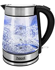 Zeppoli Electric Kettle - Glass Tea Kettle (1.7L) Fast Boiling and Cordless, Stainless Steel Finish Hot Water Kettle – Hot Water Dispenser - Glass Tea Kettle, Tea Pot Water Heater (Model B)