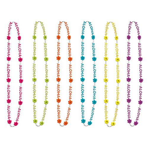 "Compra Hawaiian Summer Luau Party Assorted Aloha Bead Necklace Accessory, Plastic, 32"", Pack of 6 en Usame"