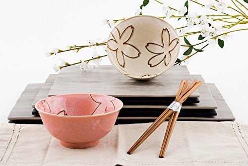 Quality Japanese Rice or Noodle Bowls 6'' Diameter Multi Purpose Tayo Bowl Set of 2 with Chopsticks Gift Set Imported From Japan (White Red Sakura) by Hinomaru Collection