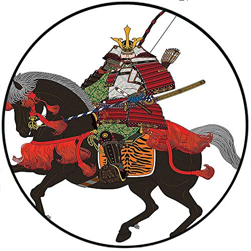 Short Plush Carpet mat Collection Shogun Wearing Armour with Arrow on Prancing Horse Courage in Warfare Illustration Brown Green Cloakroom Cafe 27.5