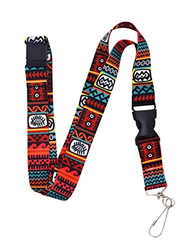 Wayfinder Red Tribal Premium Lanyard with Breakaway Clasp and Snap Buckle by - Breakaway Lanyard With Clasp