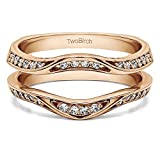 0.35 ct. Forever Brilliant Moissanite by Charles Colvard Fancy Classic Style Contour Ring Guard Enhancer Wedding Band in Rose Gold Plated Sterling Silver (1/3 ct. twt.)