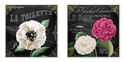 La Toilette Wall Plaque (Stupell Home Décor La Toilette and Le Bain French Floral 2pc Wall Plaque Art Set, 12 x 0.5 x 12, Proudly Made in USA)